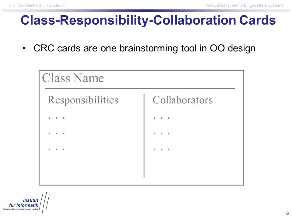 Class-Responsibility-Collaboration Cards