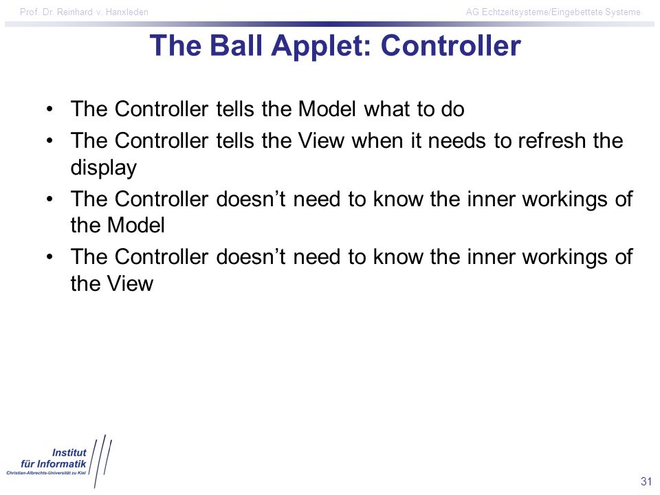 The Ball Applet: Controller