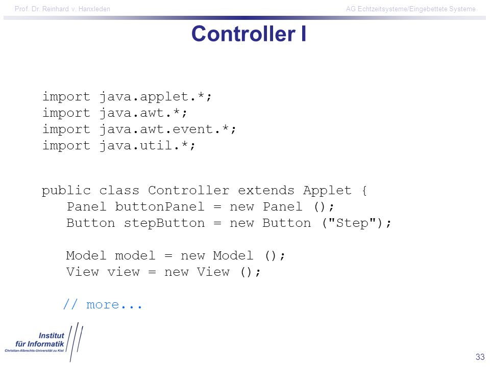 Controller I import java.applet.*; import java.awt.*;