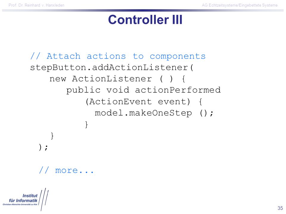 Controller III // Attach actions to components