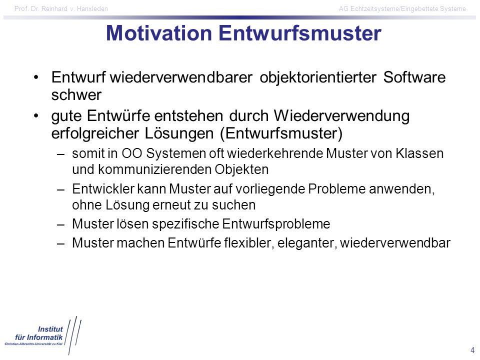 Motivation Entwurfsmuster