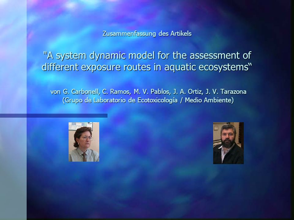 Zusammenfassung des Artikels A system dynamic model for the assessment of different exposure routes in aquatic ecosystems von G.