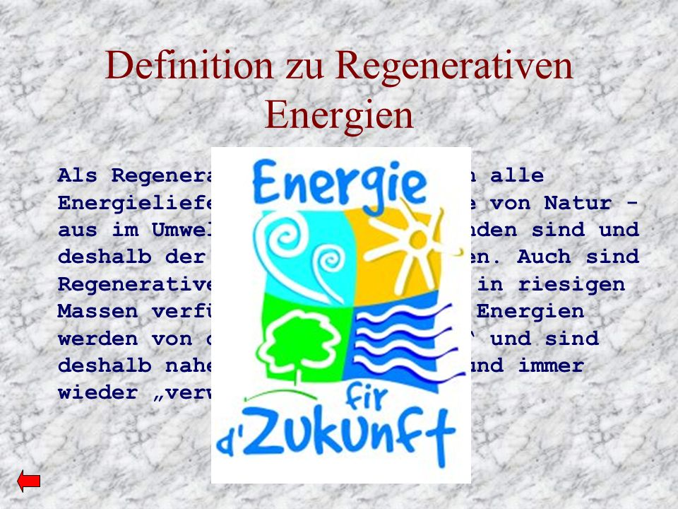 Definition zu Regenerativen Energien