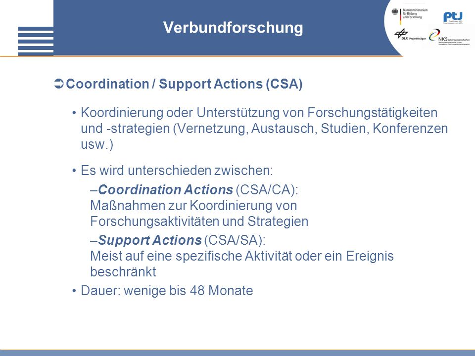 Verbundforschung Coordination / Support Actions (CSA)
