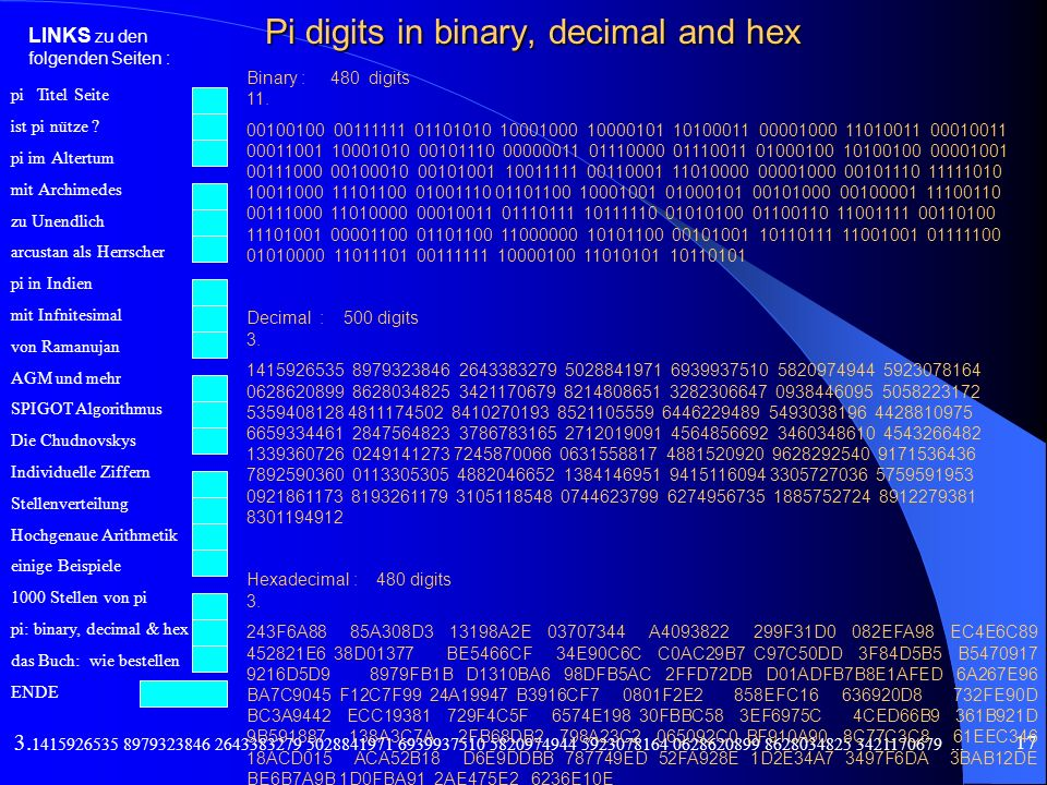 Pi digits in binary, decimal and hex