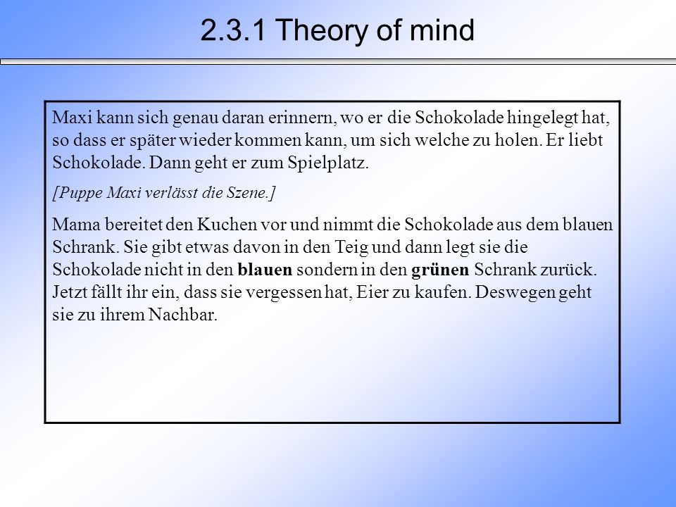 2.3.1 Theory of mind