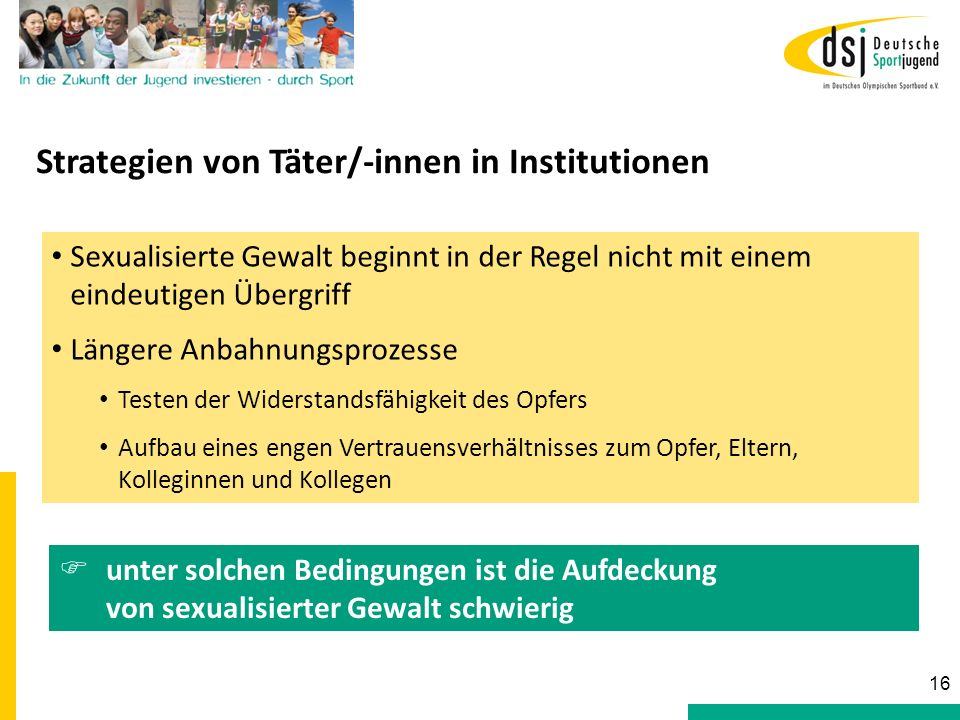 Strategien von Täter/-innen in Institutionen