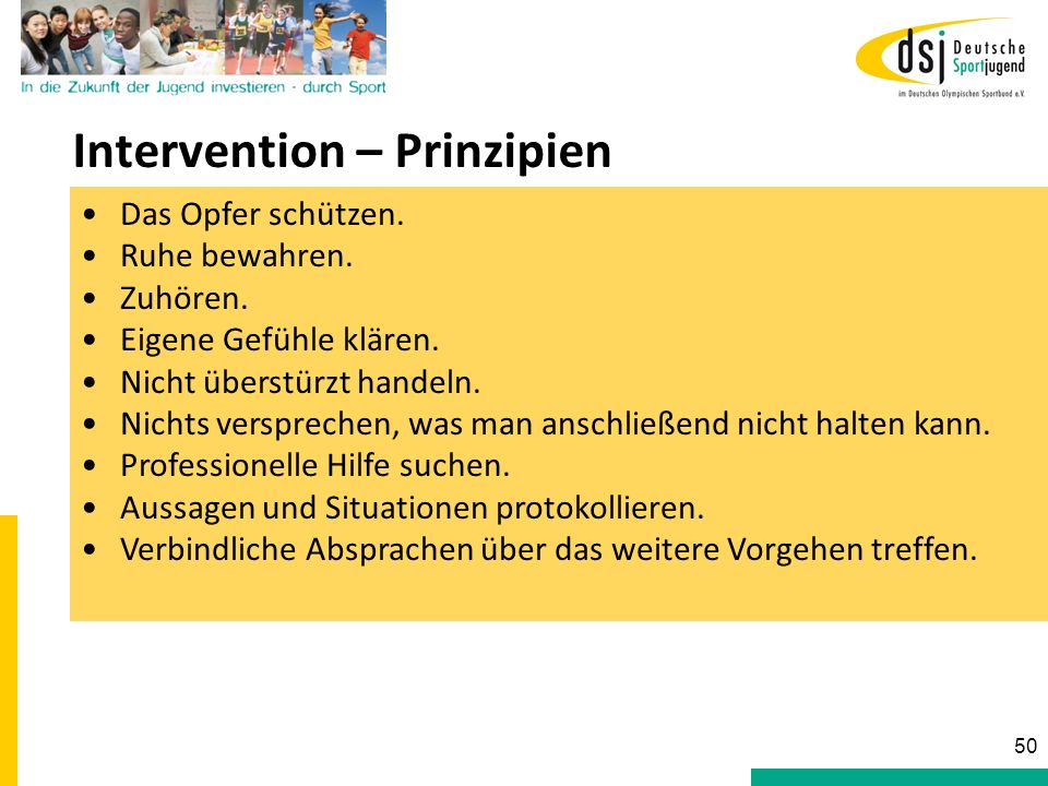 Intervention – Prinzipien