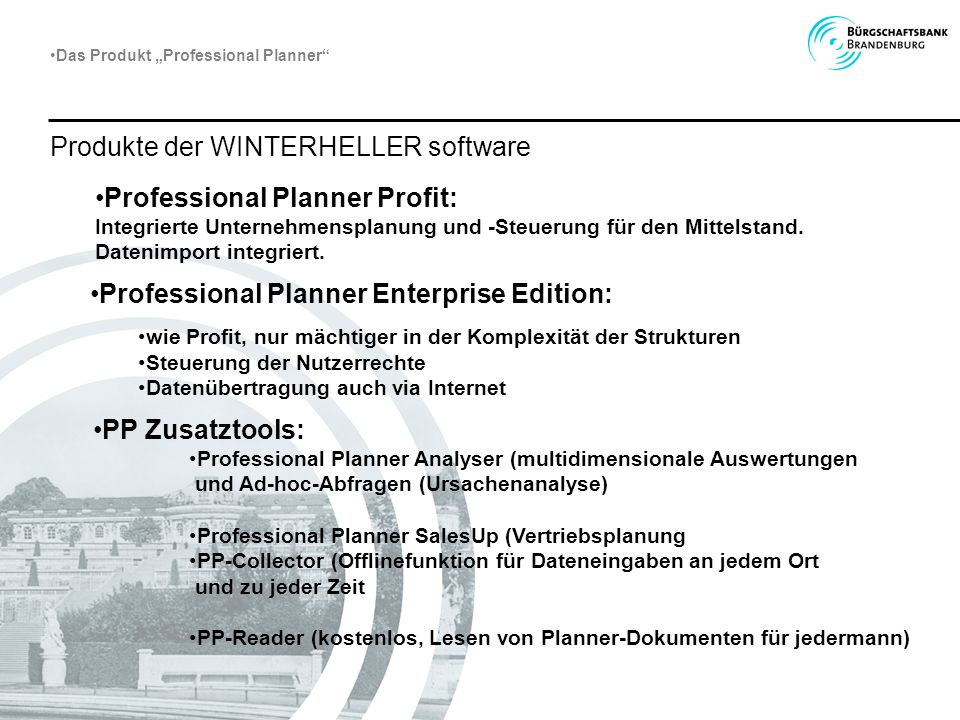 Produkte der WINTERHELLER software