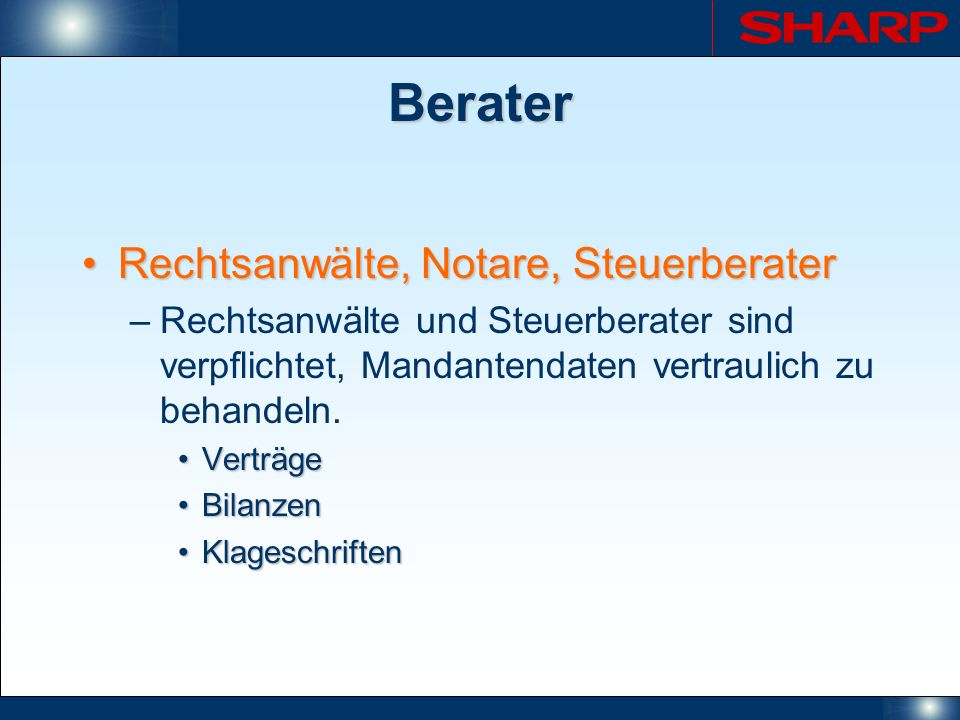 Berater Rechtsanwälte, Notare, Steuerberater