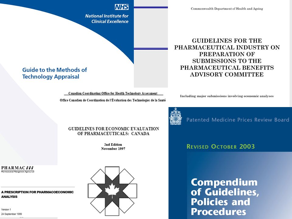 All the countries included in our study have published requirements or guidelines for manufactures how to perform clinical and economic studies and how to apply for the evaluation process and for reviewers how to perform the assessment of the drug. However these documents vary to a great extent. Some are very explicit like the Guidelines from the Australian Pharmaceutical Benefits Advisory Commitee, NICE in England or COOHTA in Canada. They emphasize for example the need of transfering artificial study results into daily practice. In other words they rather rely on effectiveness (and cost-effectiveness) than on efficacy data and on the use of final outcome parameters. This means a change in mortality, morbidity, quality of life and not on surrogates for example a lower blood pressure.