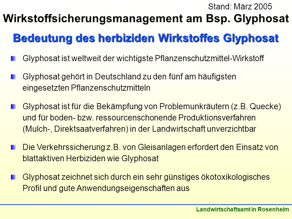 Wirkstoffsicherungsmanagement am Bsp. Glyphosat