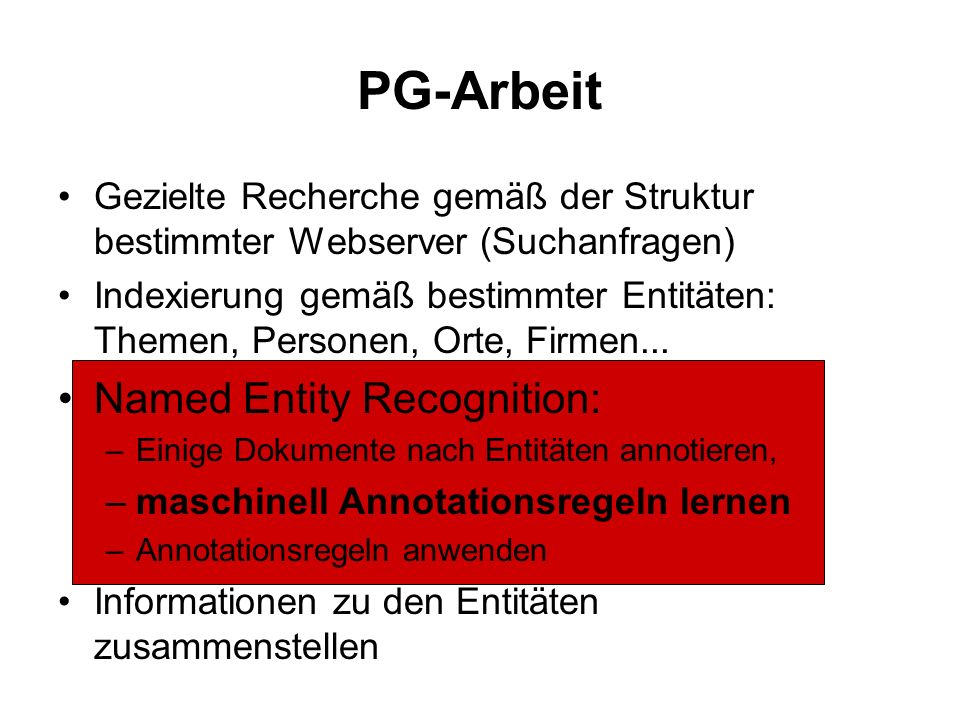 PG-Arbeit Named Entity Recognition: