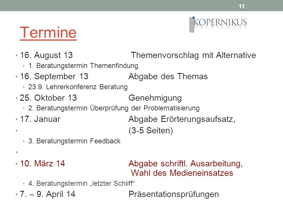 Termine 16. August 13 Themenvorschlag mit Alternative