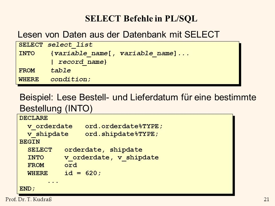 SELECT Befehle in PL/SQL