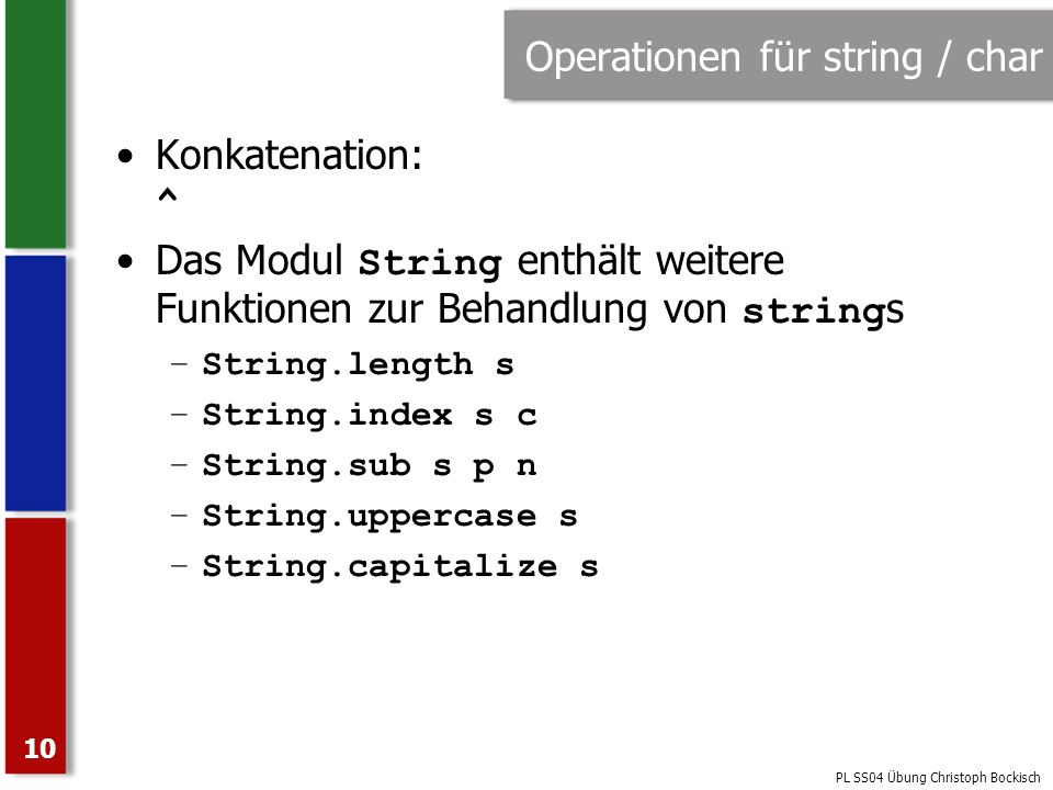 Operationen für string / char