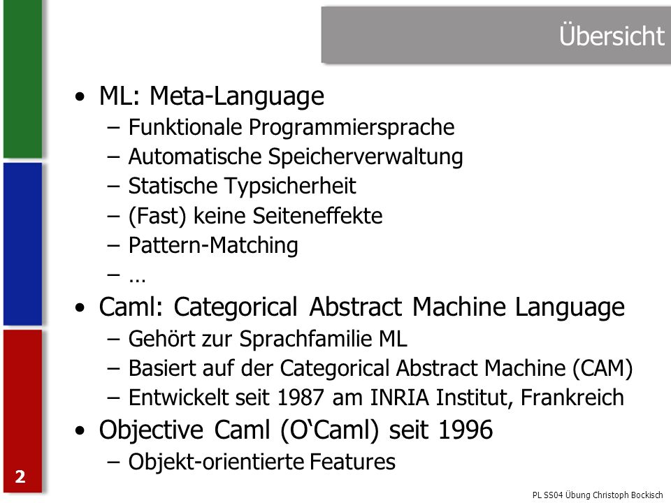Caml: Categorical Abstract Machine Language