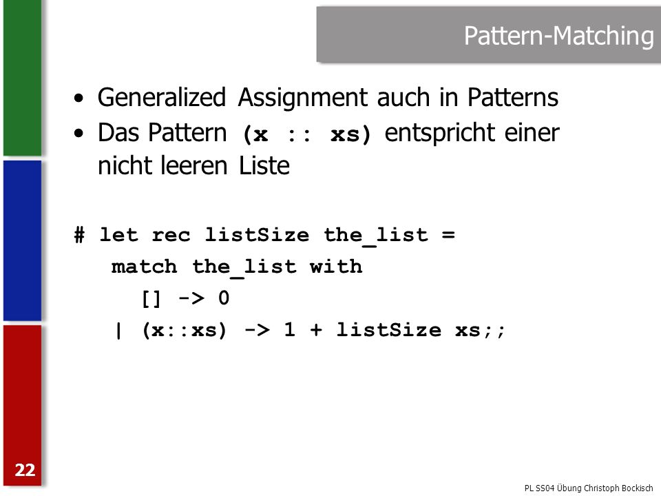 Generalized Assignment auch in Patterns