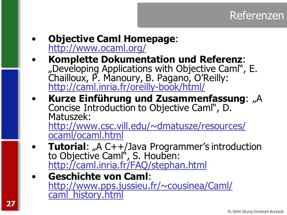 Referenzen Objective Caml Homepage: