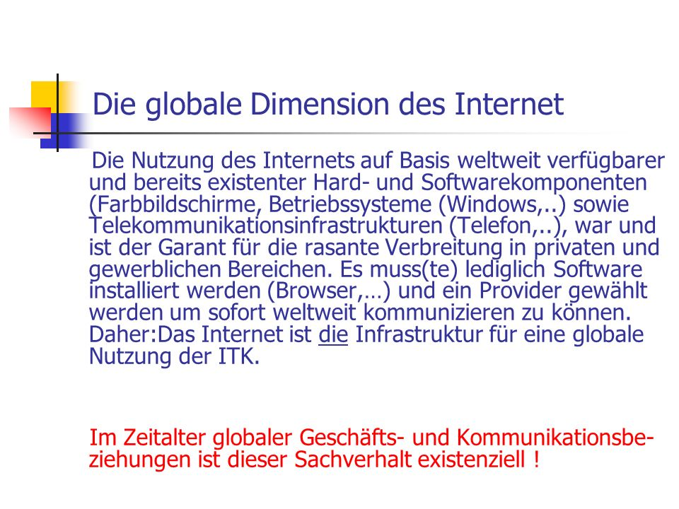 Die globale Dimension des Internet
