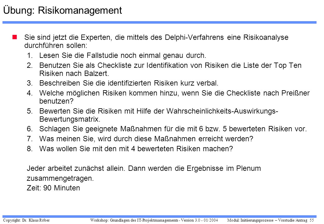 Übung: Risikomanagement