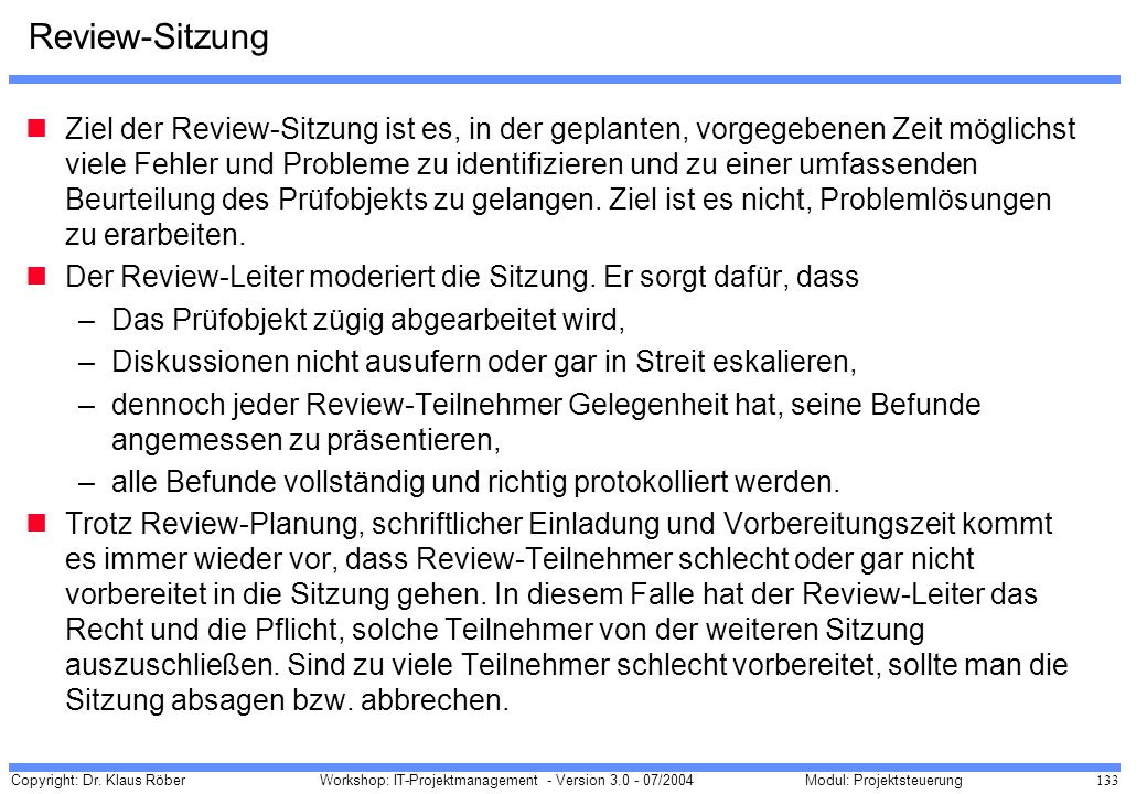Review-Sitzung