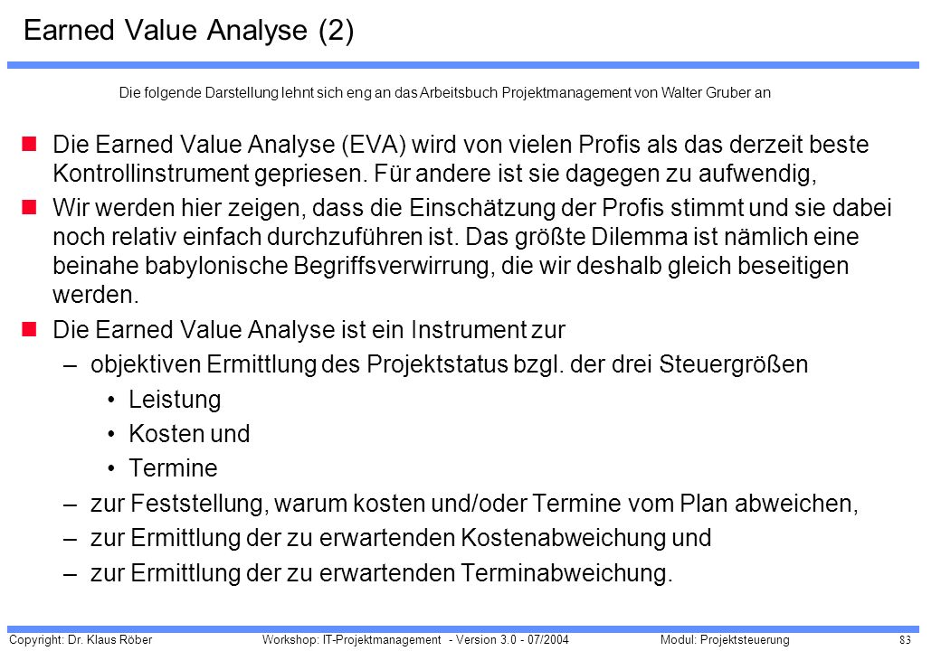 Earned Value Analyse (2)
