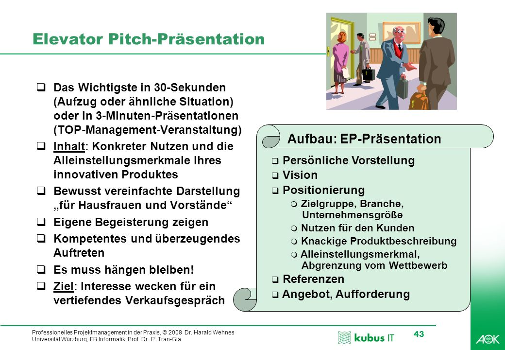 Elevator Pitch-Präsentation