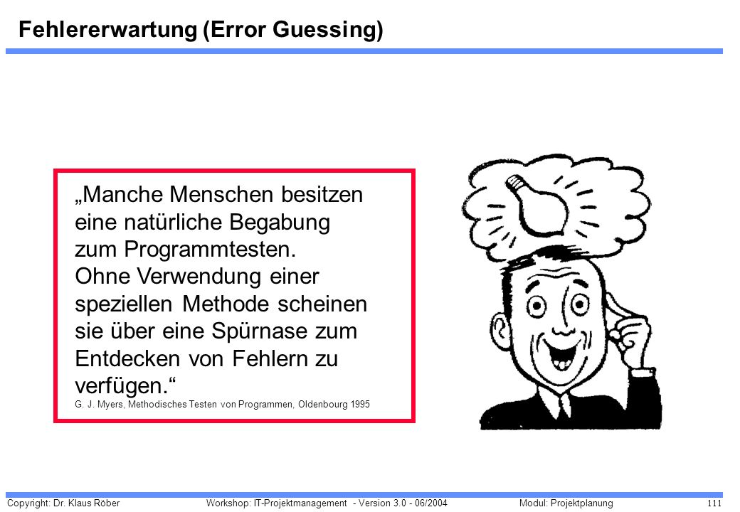 Fehlererwartung (Error Guessing)