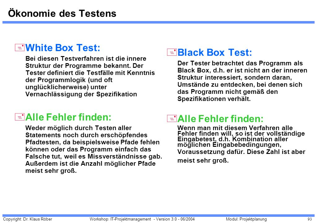 Ökonomie des Testens White Box Test: Black Box Test: