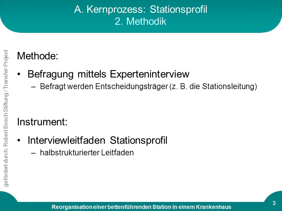 A. Kernprozess: Stationsprofil 2. Methodik