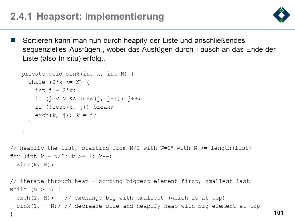 2.4.1 Heapsort: Implementierung