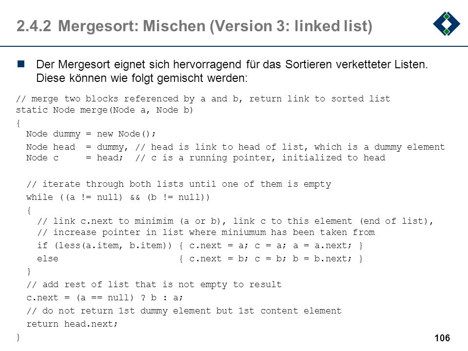 2.4.2 Mergesort: Mischen (Version 3: linked list)