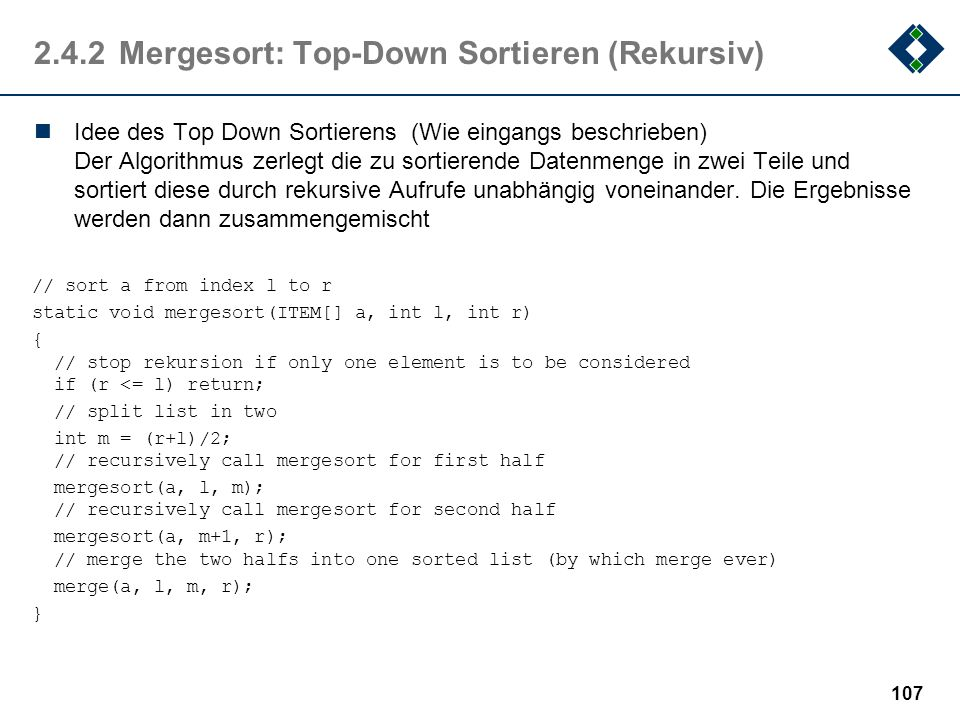 2.4.2 Mergesort: Top-Down Sortieren (Rekursiv)