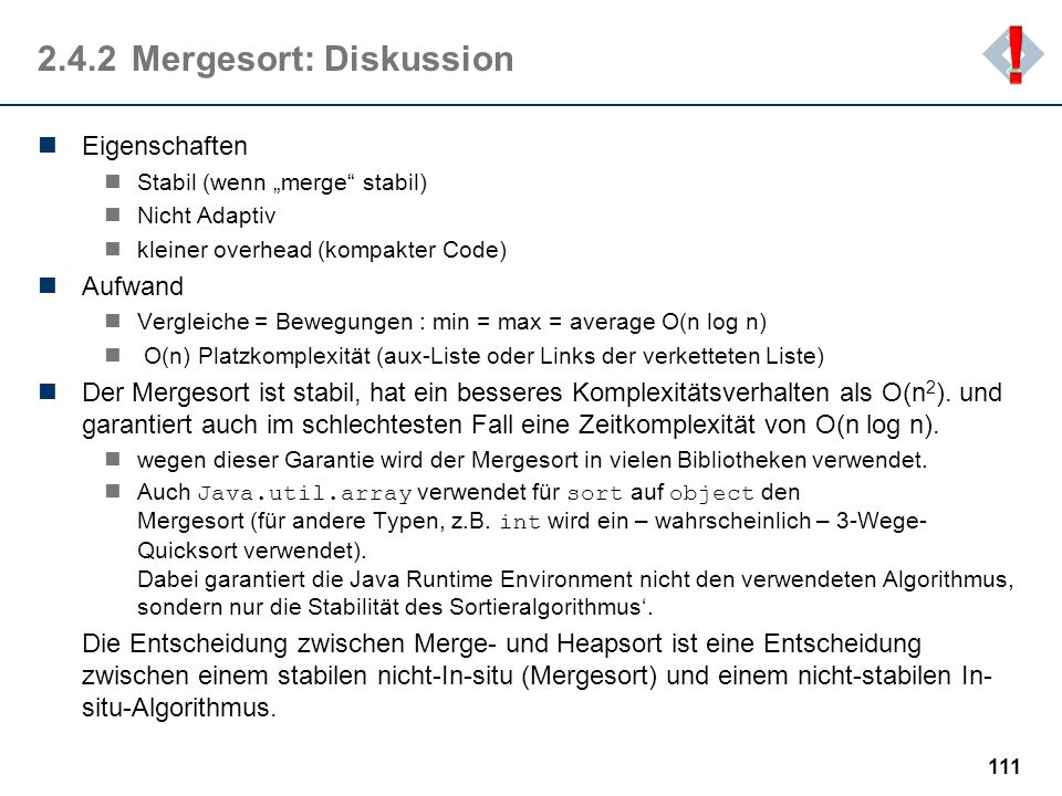 2.4.2 Mergesort: Diskussion
