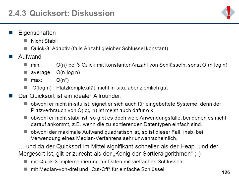 2.4.3 Quicksort: Diskussion