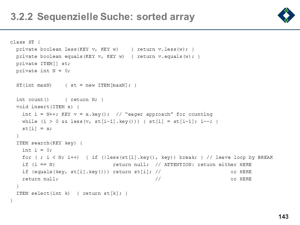 3.2.2 Sequenzielle Suche: sorted array