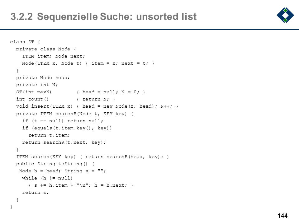 3.2.2 Sequenzielle Suche: unsorted list
