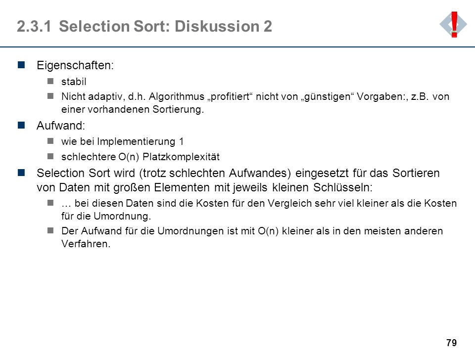 2.3.1 Selection Sort: Diskussion 2