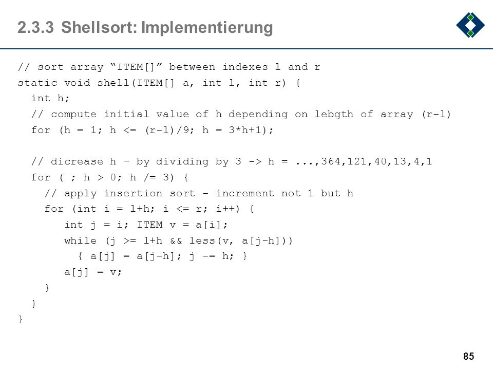 2.3.3 Shellsort: Implementierung