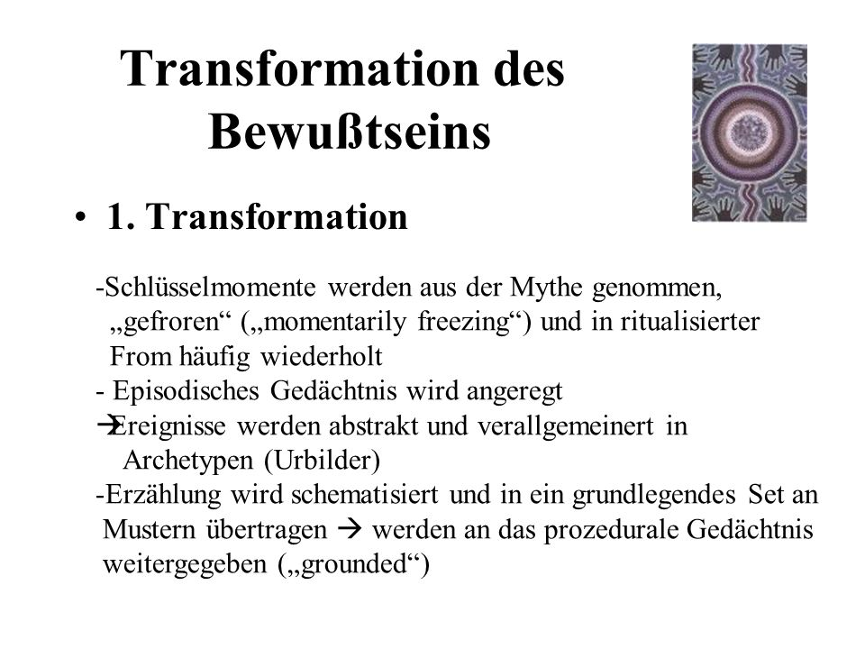 Transformation des Bewußtseins