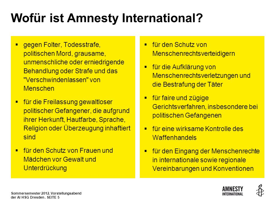 Wofür ist Amnesty International