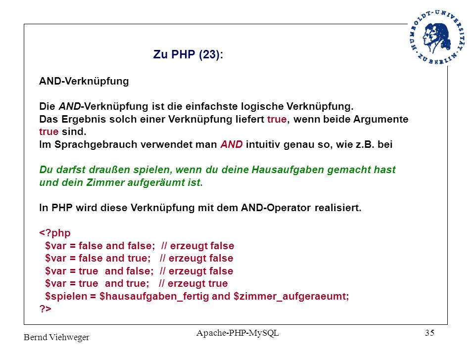 Zu PHP (23): AND-Verknüpfung