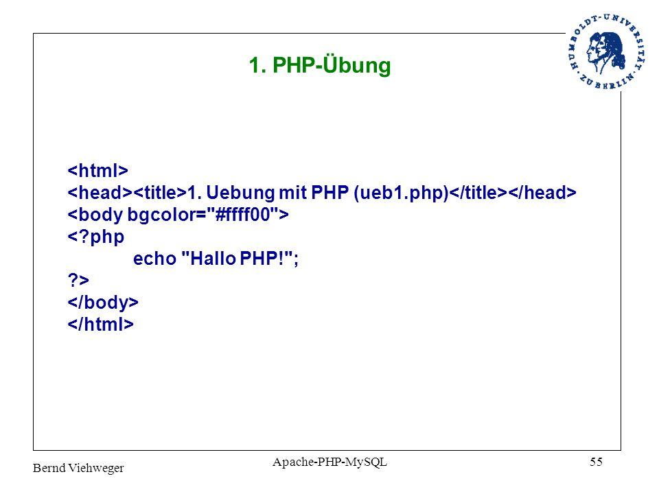 1. PHP-Übung <html>