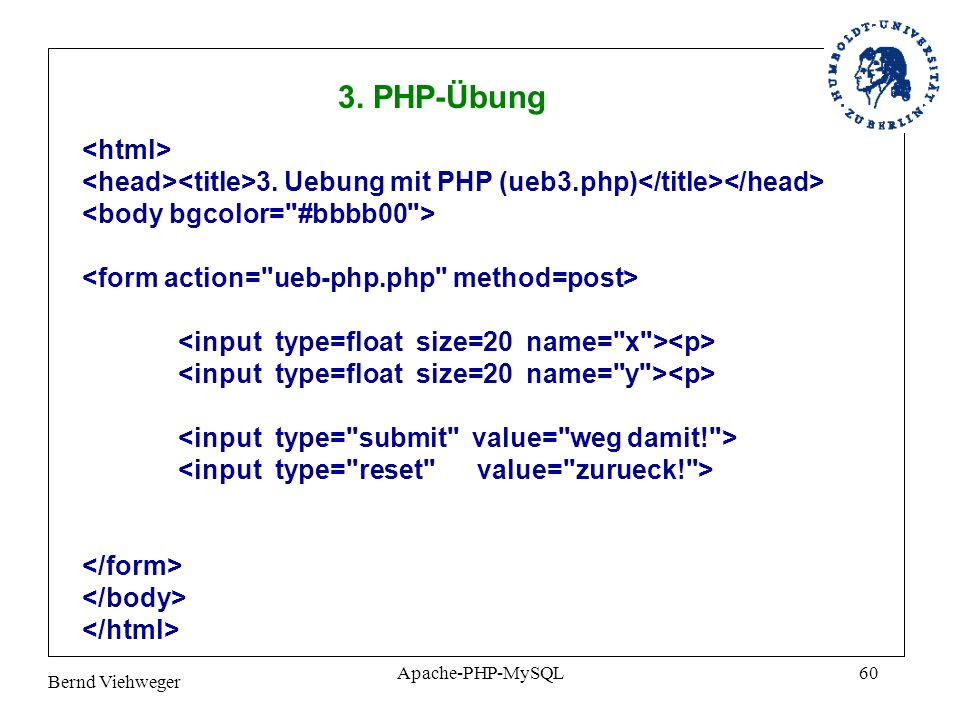 3. PHP-Übung <html>
