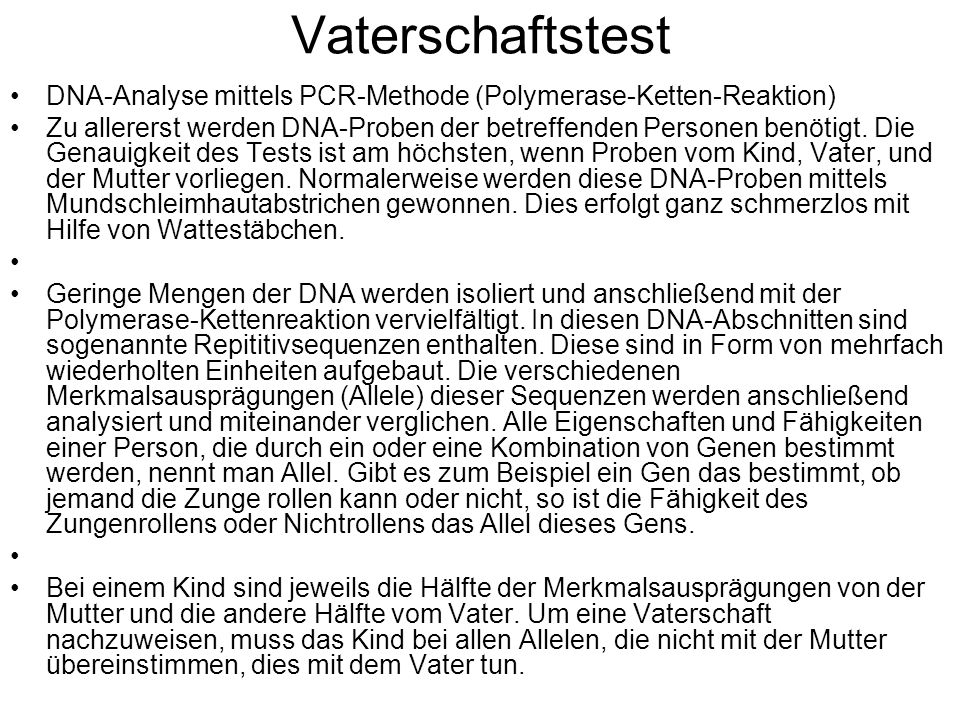 Vaterschaftstest DNA-Analyse mittels PCR-Methode (Polymerase-Ketten-Reaktion)
