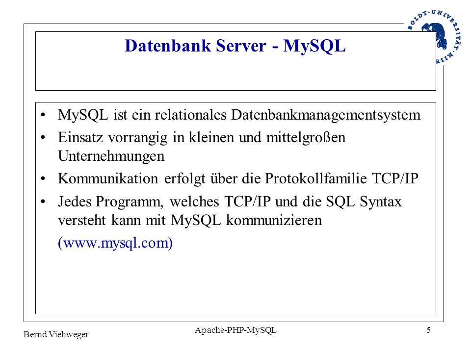 Datenbank Server - MySQL