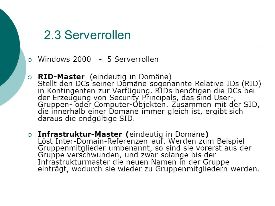 2.3 Serverrollen Windows 2000 - 5 Serverrollen