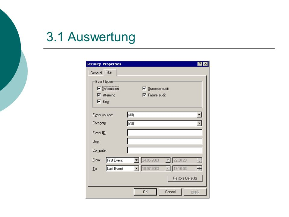 3.1 Auswertung
