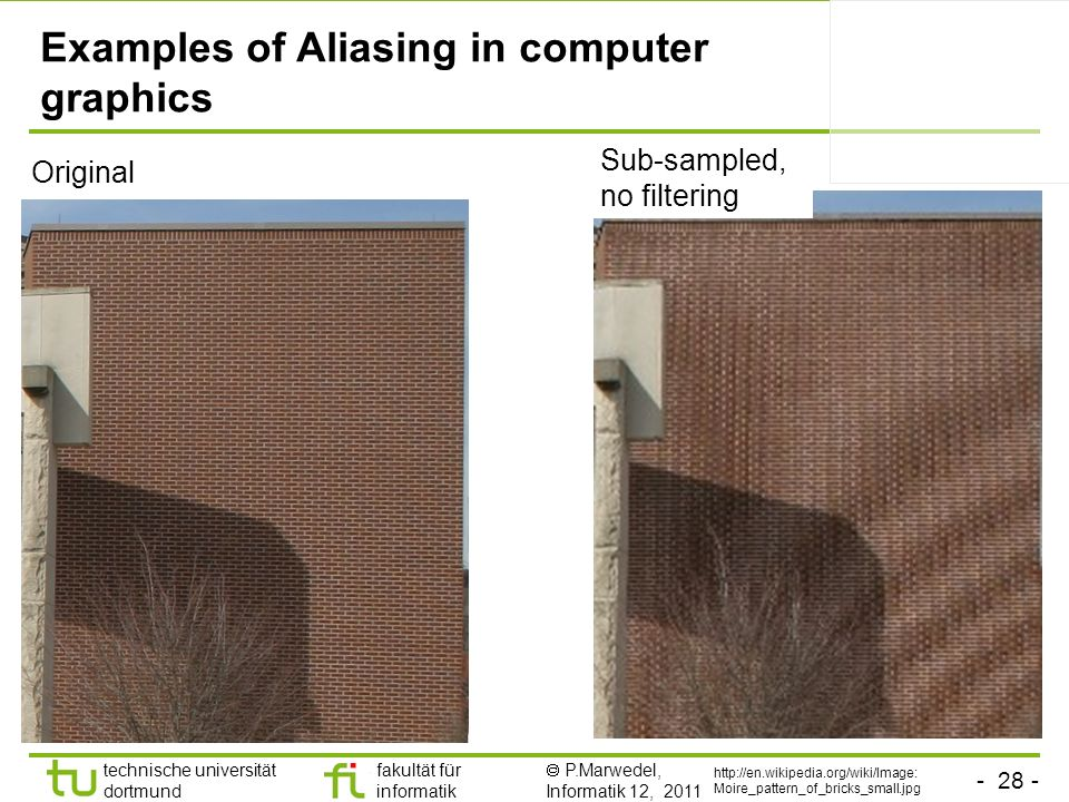 Examples of Aliasing in computer graphics